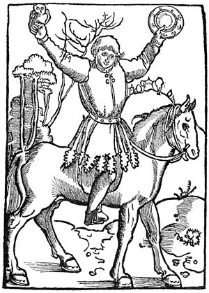 Till Eulenspiegel - The prankster Till Eulenspiegel, depicted with owl and mirror (Strasbourg edition of 1515)