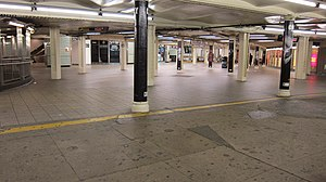 Effects of Hurricane Sandy in New York - Times Square subway station shut down during Hurricane Sandy