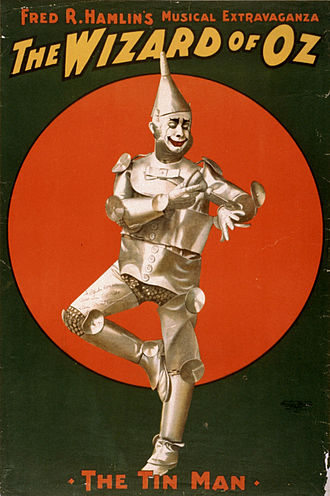L. Frank Baum - 1903 poster of Dave Montgomery as the Tin Man in Hamlin's musical stage version.