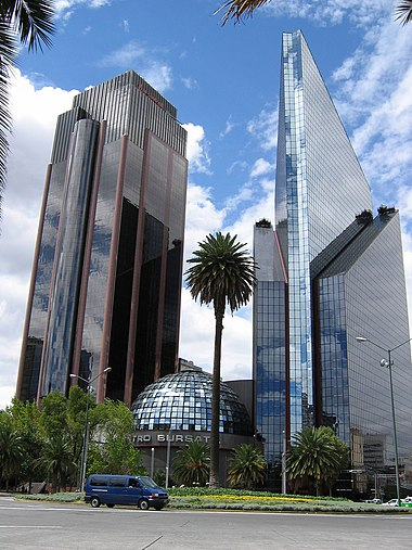 Mexican Stock Exchange (Bolsa Mexicana de Valores), it's the second largest stock exchanges in Latin America. Torre Axtel y Bolsa de Valores.jpg