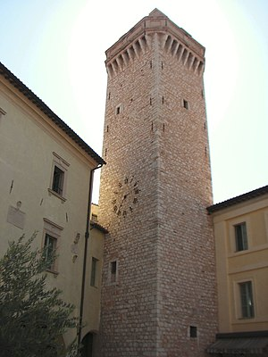 Trevi, Umbria - Watch tower on the main village square