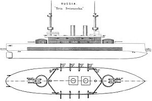 Russian battleship Tri Sviatitelia - Right elevation and deck plan as depicted in Brassey's Naval Annual 1896