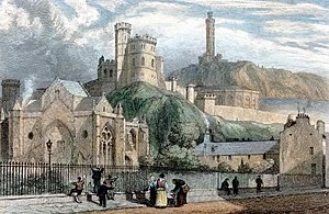 Trinity College Kirk - Engraved colour drawing of the church, done in 1825