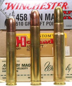 .458 Winchester Magnum - .458 Win. Mag., .458 Lott and a .460 Wby. Mag. for comparison.