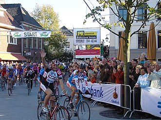 Tristan Hoffman - Hoffman accompanied by colleagues at his goodbye race in Groenlo, Netherlands.