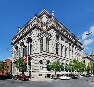 Troy Savings Bank Music Hall - Looking up at the Troy Savings Bank from the street
