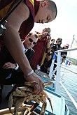 Tibetaanse monnik laat een krab los in de oceaan