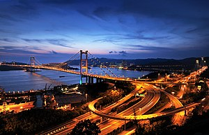 Tsing Ma Bridge - Tsing Ma Bridge viewed from Tsing Yi at night