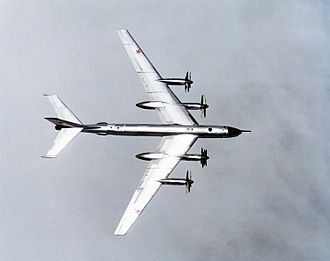 Tupolev Tu-95 - A Tu-95 showing its swept wing and anti-shock bodies