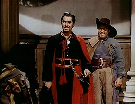 Mitchell (right) with Tyrone Power in trailer for The Black Swan (1942) Tyrone power thomas mitchell black swan 1.jpg