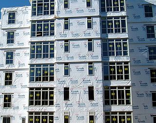 Housewrap synthetic material used to protect buildings