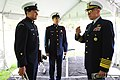 U.S. Coast Guard Adm. Robert J. Papp Jr., right, commandant of the Coast Guard, speaks with Coast Guardsmen with the Coast Guard Band during a ceremony in Alexandria, Va., April 22, 2013 130422-G-ZX620-030.jpg