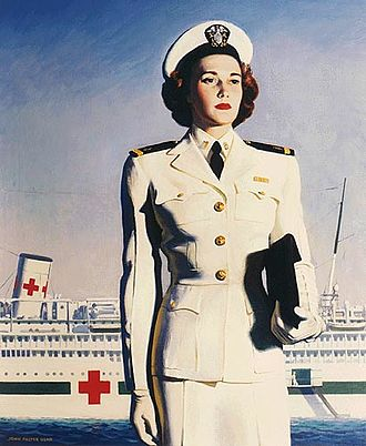 Pink-collar worker - A U.S. Navy recruiting poster from World War II, showing an officer of the Navy WAVES before a hospital ship