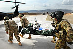 U.S. Soldiers carry a wounded Afghan counterpart to a waiting UH-60 Black Hawk helicopter during a medical evacuation mission at Multinational Base Tarin Kowt in Uruzgan province, Afghanistan, Feb 130220-A-FS372-263.jpg