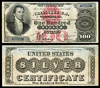 $100 Silver Certificate, Series 1878, Fr.337b, depicting James Monroe