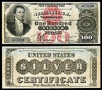 Certificado de prata de $ 100, série 1878, Fr.337b, representando James Monroe