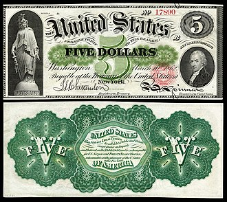 United States five-dollar bill - 1862 $5 Legal Tender note