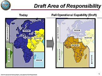 United States Africa Command - February 2007 Draft Map of U.S. AFRICOM showing its creation from parts of USEUCOM, USCENTCOM and USPACOM.