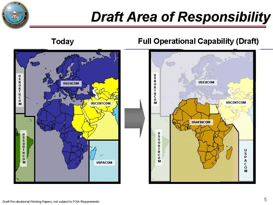 USAFRICOM United States Africa Command Map Draft