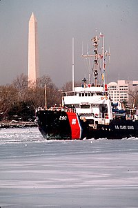 USCGC Gentian breaks ice on the Potomac River