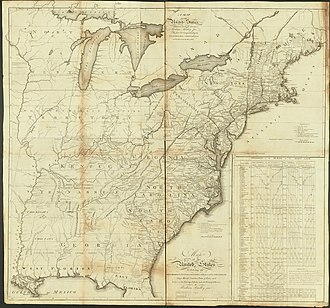 First national postal road map, created in 1796 by Assistant Postmaster General Abraham Bradley. USPostRoadMap1796.jpg