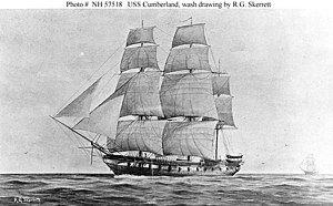 USS Cumberland (1842) - Depiction of Cumberland after her conversion from a frigate to a sloop of war.