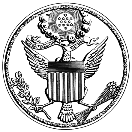 Great Seal of the United States of America during the war US Great Seal 1782 drawing.png