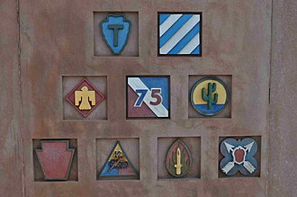12th Armored Division (United States) - Image: US Memorial on Hill 351 Sigolsheim insignias DSC A 0180 sm