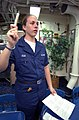 US Navy 030401-N-6141B-007 Hospital Corpsman Tiffany Reid of Manassas, Va., instructs crewmembers on the proper use of 2-Pan Chloride injectors aboard USS Donald Cook (DDG 75).jpg