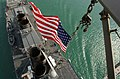 US Navy 030426-N-6141B-010 Stars ^ Stripes flying boldly as seen from the crow's nest aboard the guided missile destroyer USS Donald Cook (DDG 75) as it transits the Suez Canal.jpg