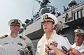 US Navy 040423-N-9849W-093 Capt. Chris Noble, commanding officer USS Coronado (AGF 11), greets the Philippine press shortly after arriving at the former U.S. Navy base.jpg