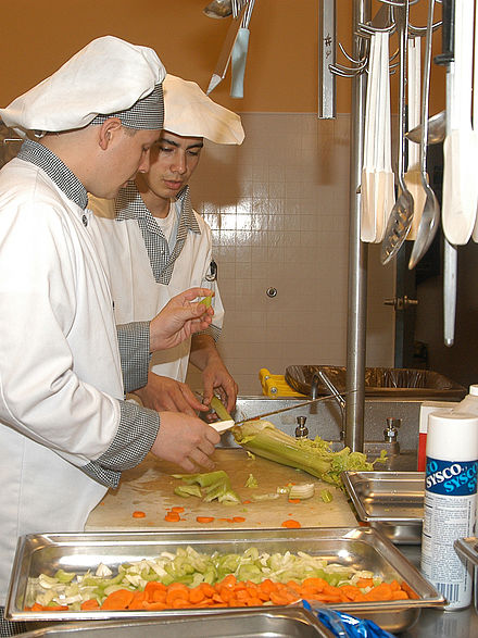 Food preparation at the Naval Air Station, Whidbey Island, Washington state