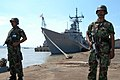 US Navy 050725-N-0493B-010 Indonesian Marines stand a vigilant watch on the pier in Surabaya, Indonesia following the guided missile frigate USS Rodney M. Davis's (FFG 60) arrival.jpg