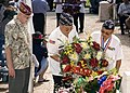 US Navy 051111-N-1027J-105 Wreath Greeter, Al Frumkin, left, stands by as members from the Korean War Veterans Association Aloha Chapter presents a wreath in honor of veterans.jpg