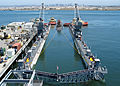 US Navy 070425-N-6357K-001 Los Angeles-class fast attack submarine USS Asheville (SSN 758), nicknamed The Ghost of the Coast, enters the floating dry dock Arco (ARDM 5) for a scheduled maintenance period aboard Naval Base Point.jpg