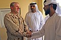US Navy 070515-A-2013C-015 U.S. Navy Cmdr. Dave Adams, commander of the Khowst Provincial Reconstruction Team, greets delegates from the United Arab Emirates (UAE).jpg