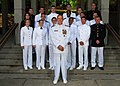 US Navy 070517-N-0923G-004 Commander, Naval Education and Training Command, Rear Adm. Gary R. Jones pose for a photo with Naval Reserve Officer Training Corps (ROTC) midshipmen at the National Conference Center.jpg