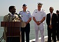 US Navy 070517-N-6544L-001 Commander, U.S. Coast Guard Atlantic Area Vice Adm. D. Brian Peterman and Commander, U.S. Sixth Fleet Vice Adm. John Stufflebeem listen as a member of the Mauritanian port authority discusses maritime.jpg