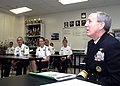 US Navy 071016-N-5208T-001 Rear Adm. Gary Jones, commander of Naval Education and Training Command, discusses training opportunities with Cary High School Navy Junior Reserve Officers' Training Corps cadets.jpg