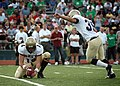 US Navy 071110-N-8053S-155 Navy Midshipmen kicker, Joey Bullen, attempts to kick a field goal during the Navy vs. University of North Texas (UNT) football game.jpg