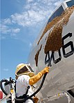 US Navy 080629-N-3013W-047 Aviation Airman 1st Class (A1C) Gilbert Hardy, assigned to the Air Force 18th Civil Engineer Squadron, uses a vacuum to remove a swarm of Japanese honey bees.jpg