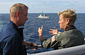 US Navy 090603-N-7058E-066 Rear Adm. Nora Tyson, commander, Logistics Group Western Pacific, discusses the Republic of Singapore Navy.jpg