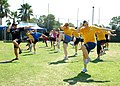 US Navy 090903-N-5726E-083 Fred Fusilier, lead personal trainer at Naval Medical Center San Diego, leads a fitness aerobics class during the Health and Wellness Department Fitness Expo.jpg