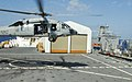 US Navy 100222-N-4047W-190 An MH-60S Sea Hawk helicopter assigned to Helicopter Sea Combat Squadron (HSC) 28 lands aboard the Military Sealift Command hospital ship USNS Comfort (T-AH 20).jpg