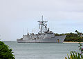 US Navy 100730-N-8539M-164 The Oliver Hazard Perry-class guided-missile frigate USS McClusky (FFG 41) returns to Joint Base Pearl Harbor-Hickam after participating in Rim of the Pacific (RIMPAC) 2010 exercises.jpg