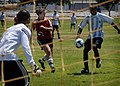 US Navy 100816-N-1947A-039 Lt. j.g. Lauryn Dempsey participates in a soccer game against USS Bonhomme Richard (LHD 6) during Surface Line Week 2010.jpg