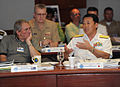 US Navy 110210-N-0512P-005 Rear Adm. Shinichi Tokumaru engages in a discussion during the Combined Force Maritime Component Commander course.jpg