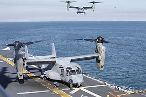 US Navy 120131-M-DK975-090 An MV-22 Osprey tiltrotor aircraft lands aboard the amphibious assault ship USS Kearsarge (LHD 3) during exercise Bold A.jpg