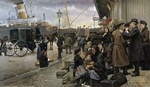 Paintin by Edvard Petersen of emigrants leaving from the Port of Copenhagen for America.