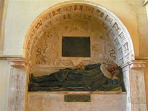 Uffington, Oxfordshire - Monument to John Saunders in St Mary's parish church
